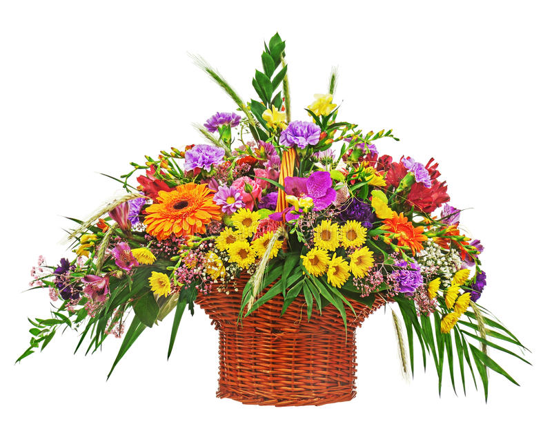 Flower bouquet arrangement centerpiece in wicker basket isolated. On white background. Closeup stock photography