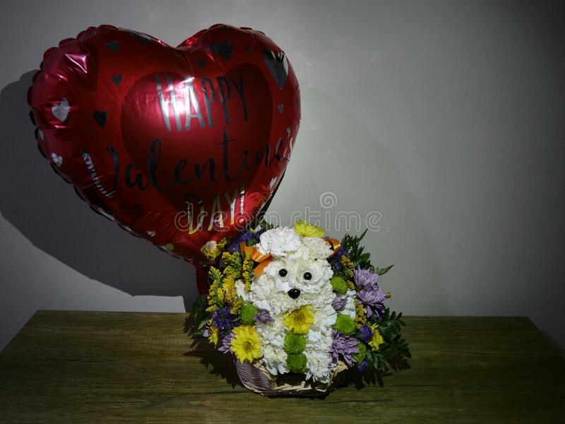 Flower bouquet, arrangement, decoration in basket in form of puppy, in front of white wall with valentine balloon. Beautiful colorful flower bouquet, arrangement stock photos