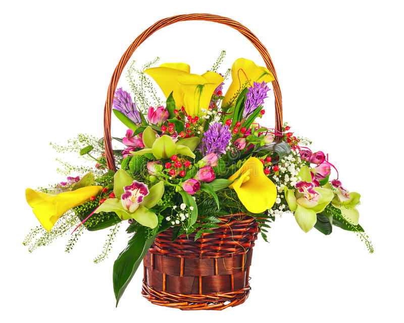 Flower bouquet arrangement in wicker basket isolated on white ba stock photography
