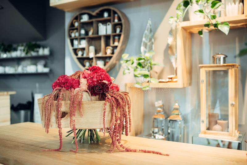 Flower bouquet with decoration in shop, nobody stock photo