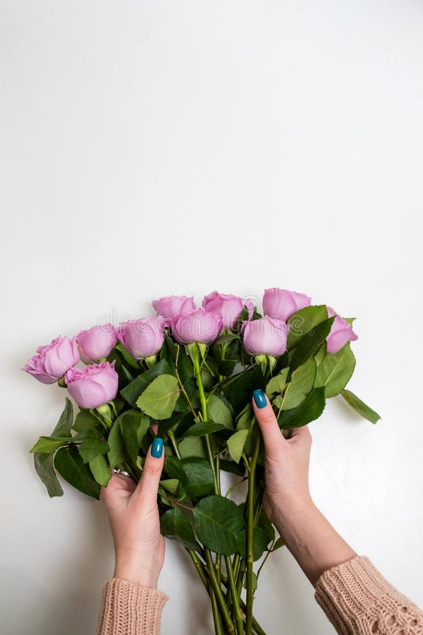 Flower Bouquet Delivery Woman Holding Roses Stock Photo - Image of ...