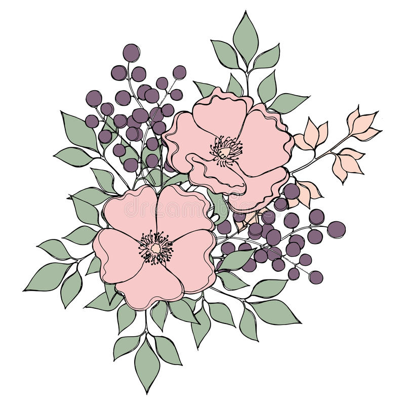 Flower bouquet with dog-roses, berries and leaves in pastel colors. Vector EPS 10 royalty free illustration