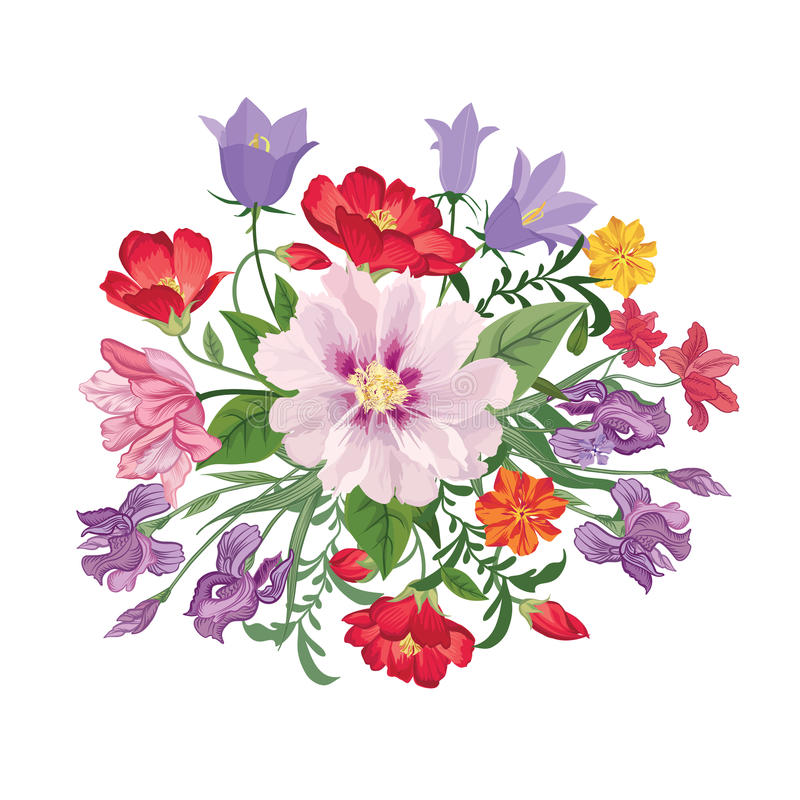Flower bouquet. Floral frame. Flourish greeting card. Blooming f royalty free illustration