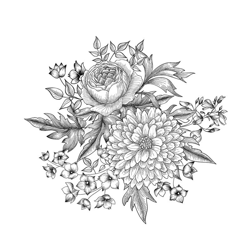 Flower bouquet. Floral sketch engraving background. Flower bouquet isolated. Floral sketch background. Hand drawn engraving greeting card vector illustration