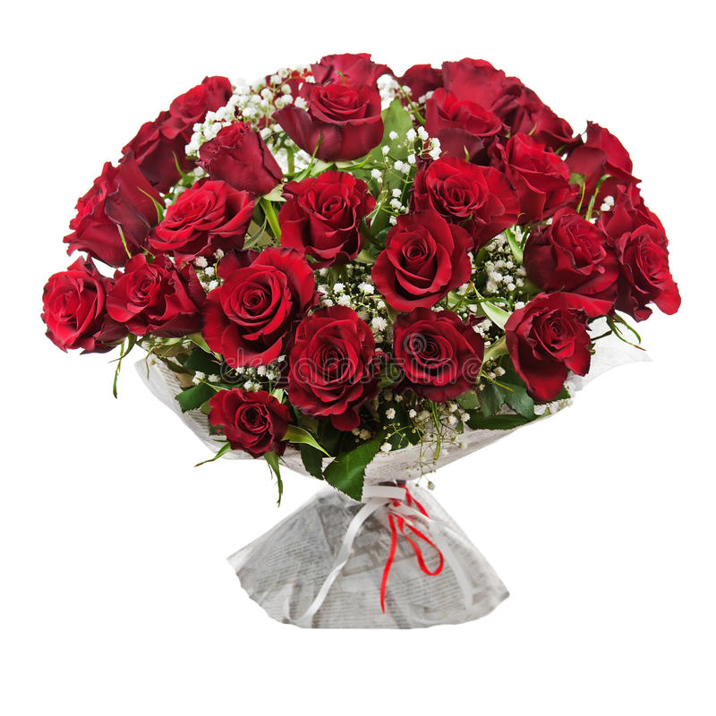 Free Flower Bouquet From Red Roses Isolated On White Background. Stock Photography - 37594582