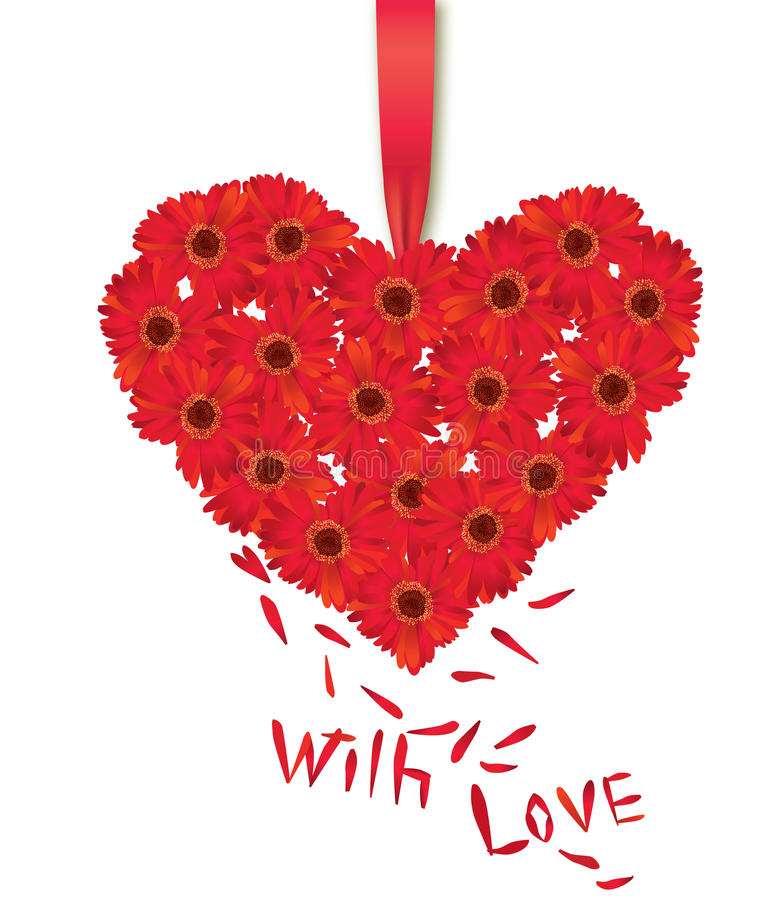 Flower Bouquet Of Heart Shape Isolated On White Background. Royalty Free Stock Photography