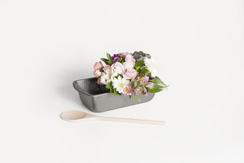 Download Flower Bouquet Inside A Bread Pan Stock Photo - Image: 83724178