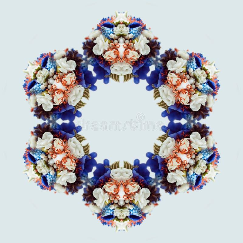 Flower bouquet mandala isolated on white background. Kaleidoscope effect. royalty free stock image