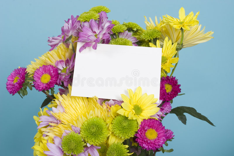 Flower Bouquet With Note Card Stock Photo - Image of green, bright ...