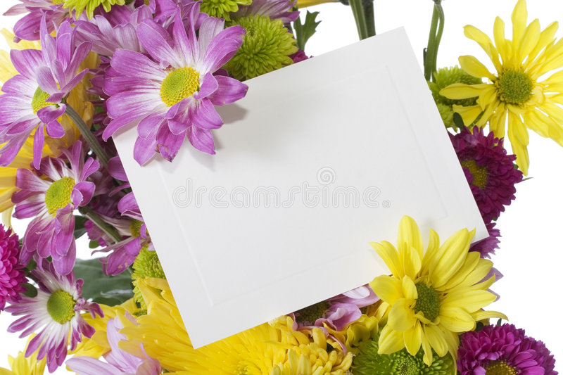 Flower Bouquet With Note Card Stock Photo - Image of message, plants ...
