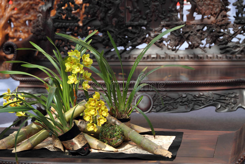 Flower bouquet in oriental style room stock photo