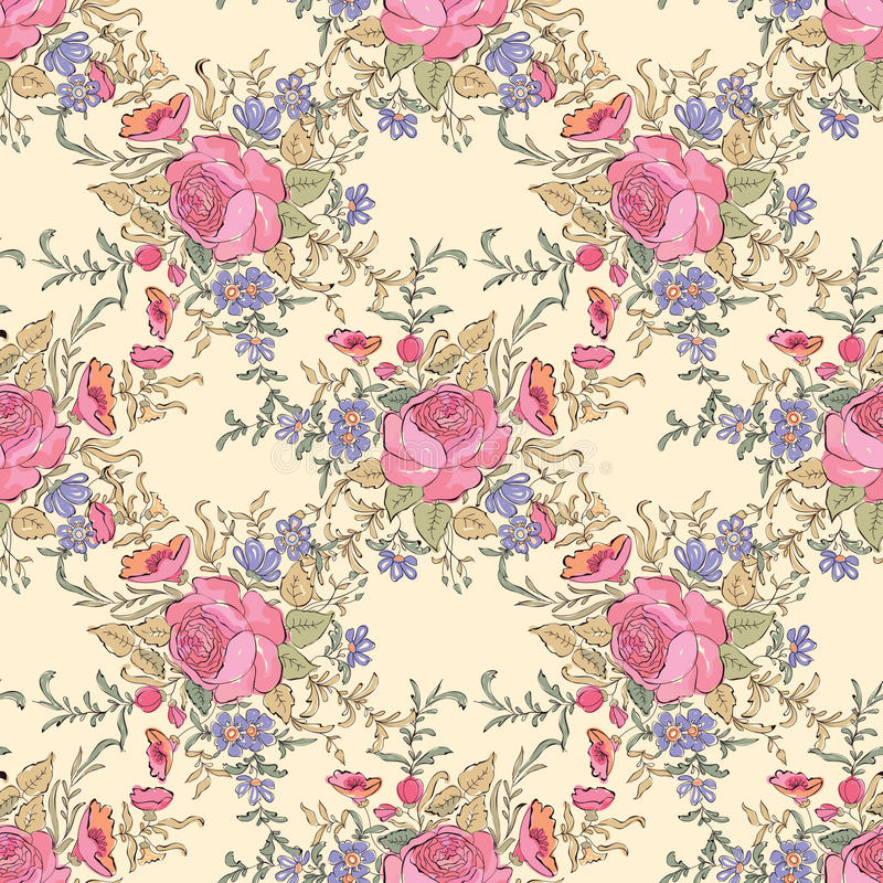 Flower bouquet pattern. Floral seamless background. Floral seam stock illustration