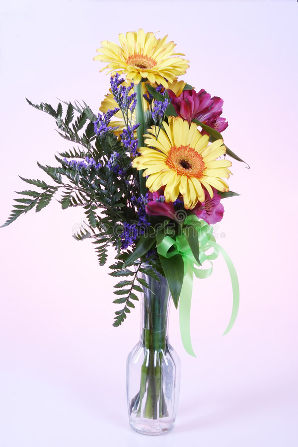 Flower Bouquet On Pink Background Royalty Free Stock Images