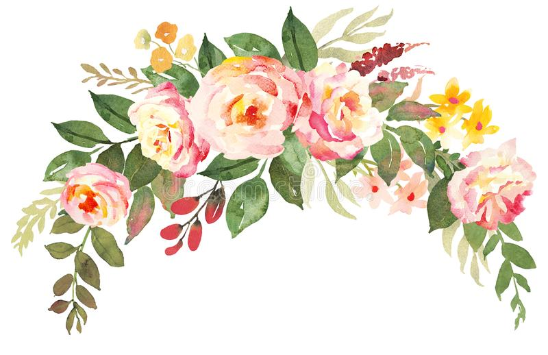 Flower bouquet with pink roses. Watercolor hand-painted illustration vector illustration