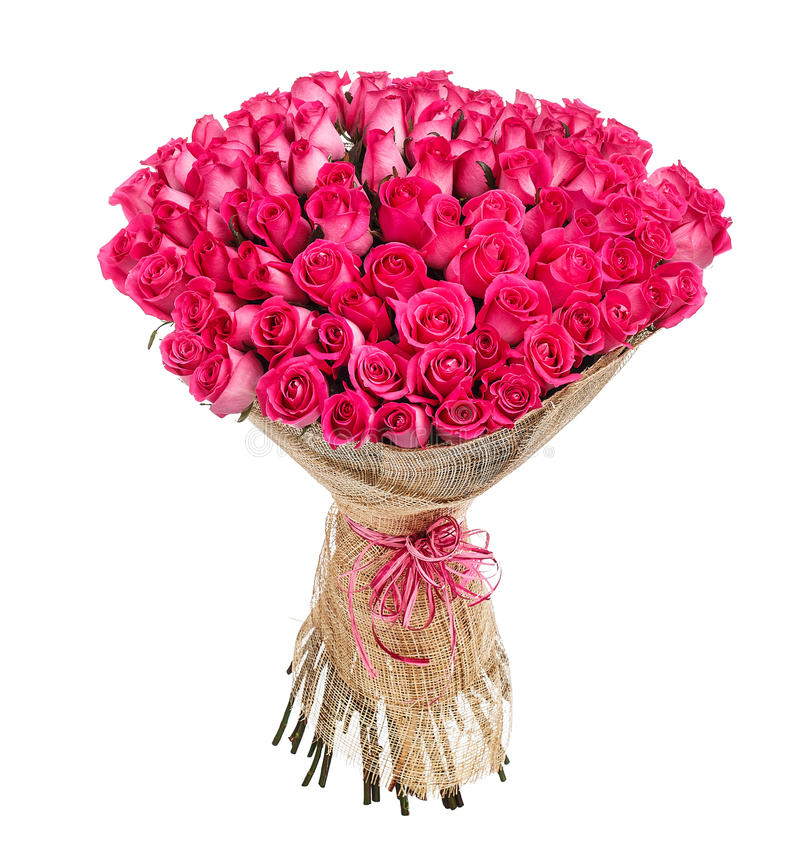 Flower bouquet of 100 pink roses royalty free stock photo