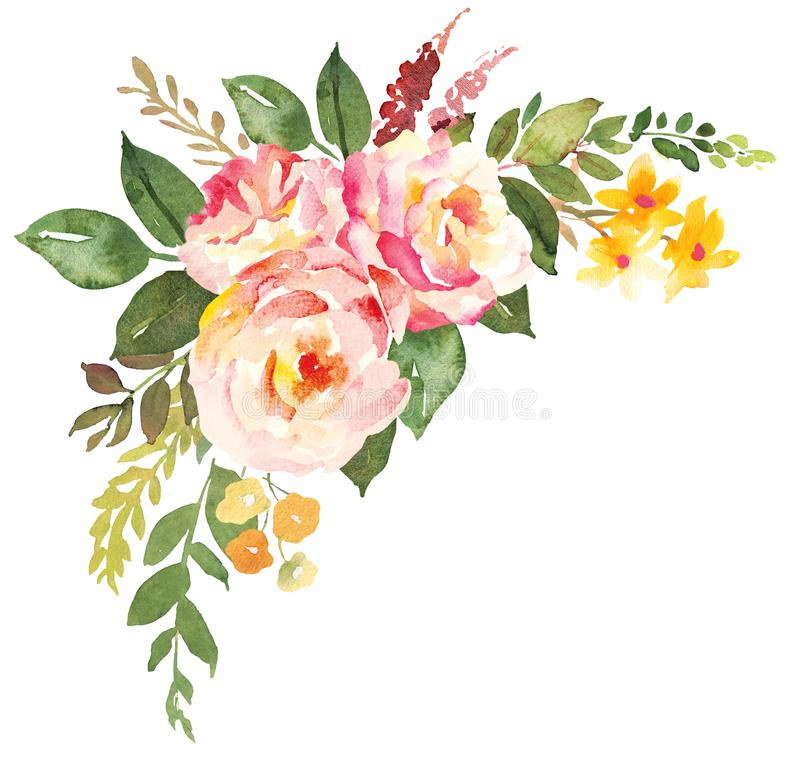 Flower bouquet with pink roses. Watercolor hand-painted illustration royalty free illustration