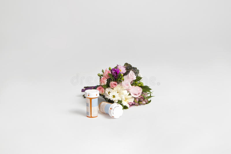 Download Flower Bouquet With Prescription Bottles Stock Image - Image: 83724177