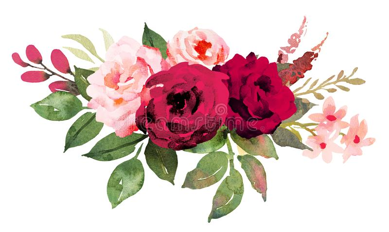 Flower bouquet with red and pink roses. Watercolor hand-painted illustration royalty free illustration