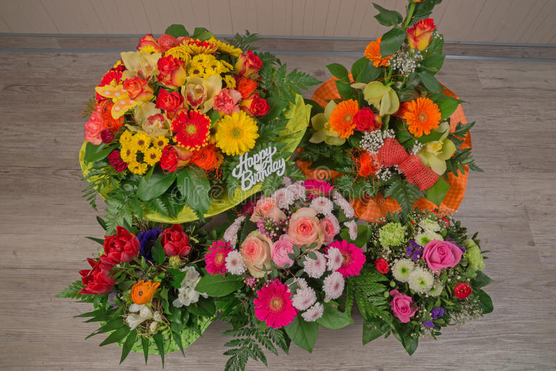 Flower Bouquet With Text Happy Birthday Stock Photo - Image of ...
