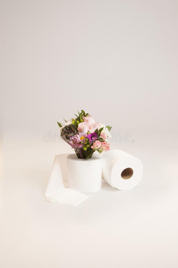 Download Flower Bouquet With Toilet Paper Stock Photo - Image: 83724138