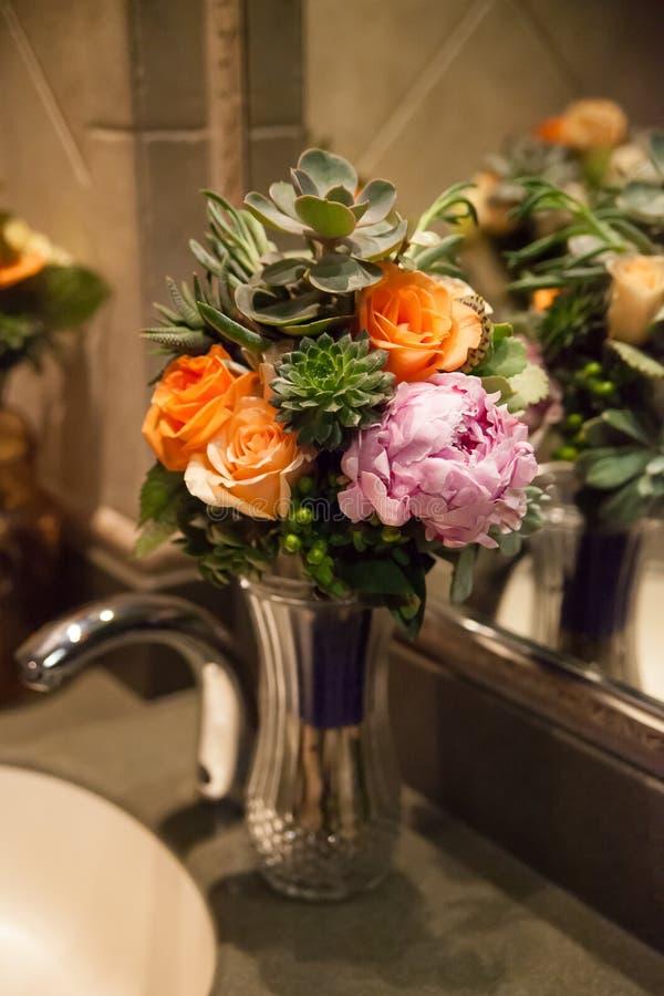 Flower bouquet in vase stock images