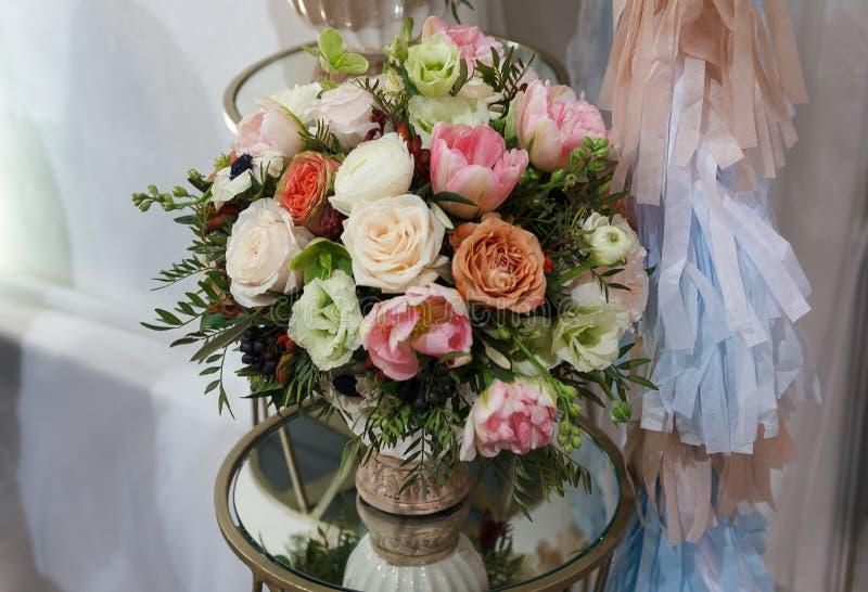 Flower bouquet vase stock photo