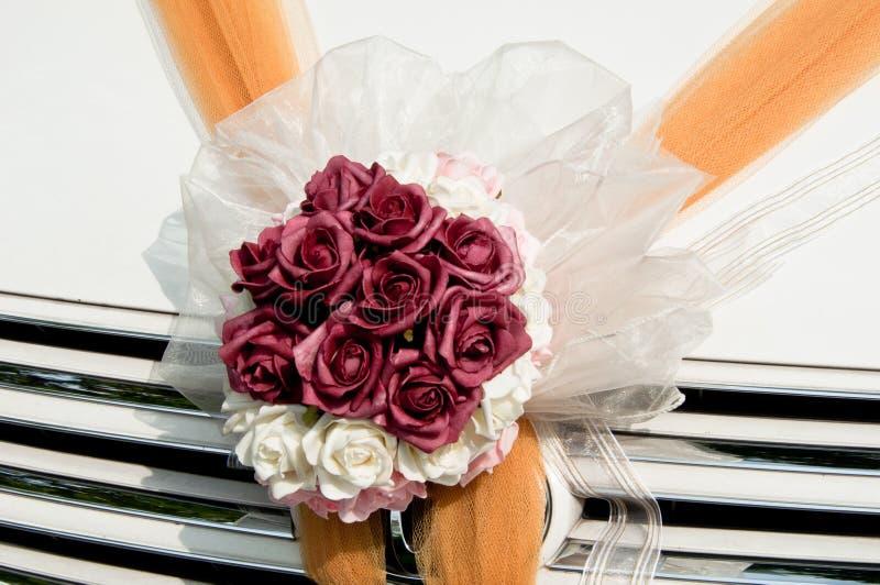 Flower Bouquet On Wedding Car Stock Photos