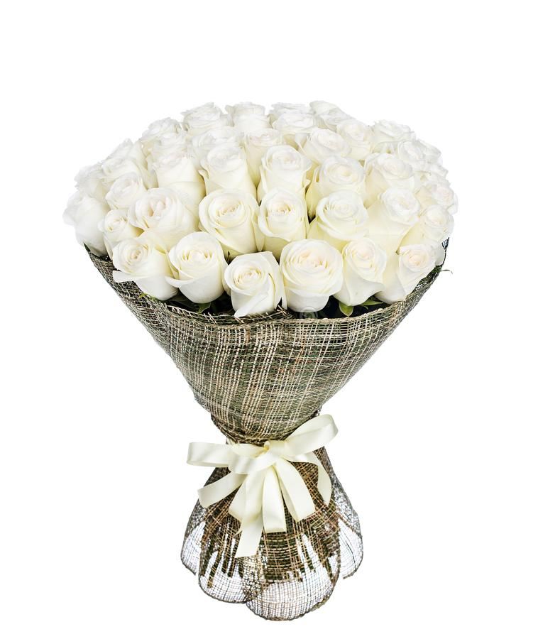 Flower bouquet of 50 white roses stock photo