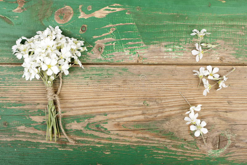 Flower bouquet. On wooden planks royalty free stock image