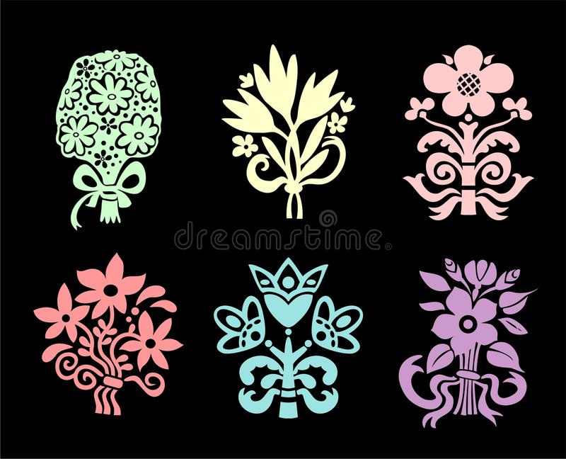Download Flower bouquets stock vector. Image of clip, colors, black - 11605636