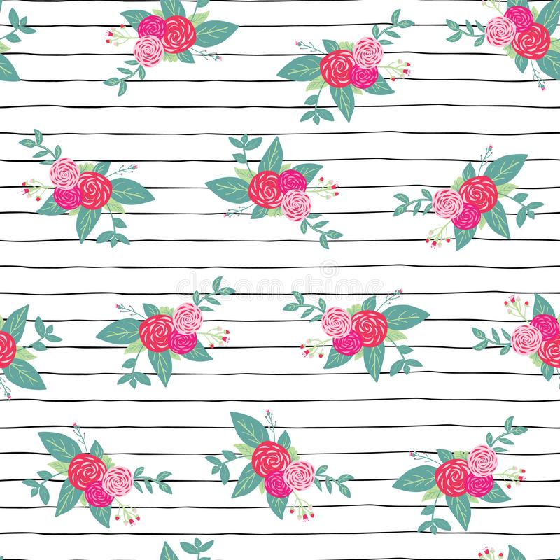 Flower bouquets on black and white stripes seamless repeat vector pattern background. Pink abstract roses and foilage on hand stock illustration