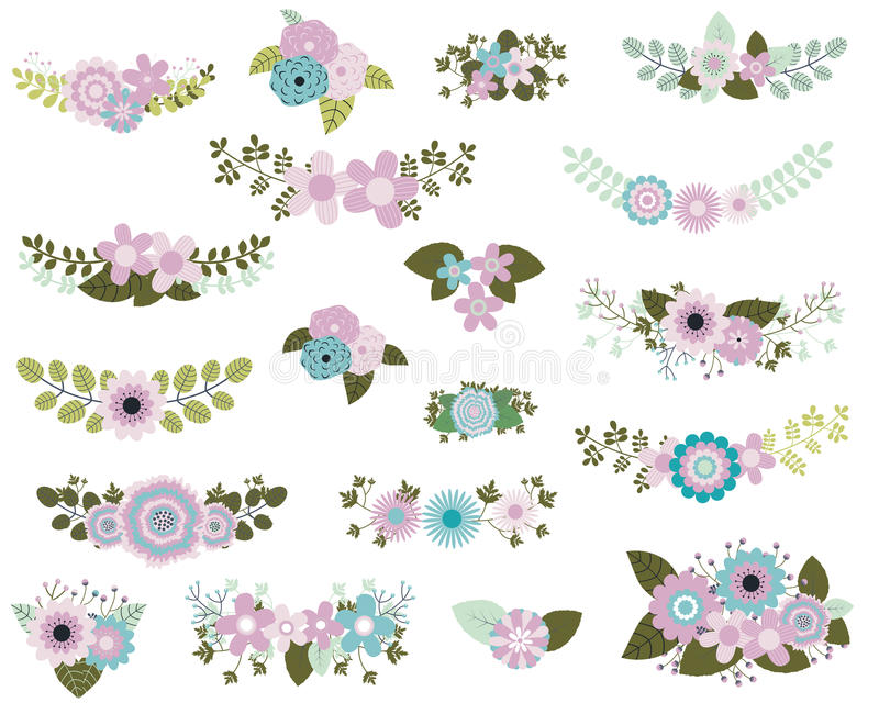 Flower bouquets in mint and violet colors. Floral design elements in mint and violet colors with flower bunches and laurels royalty free illustration
