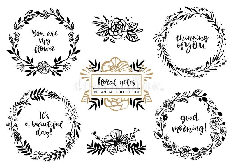 Flower bouquets, wreaths with inspirational quotes. Floral botanical elements. Hand drawn illustration. Nature vector design. royalty free illustration
