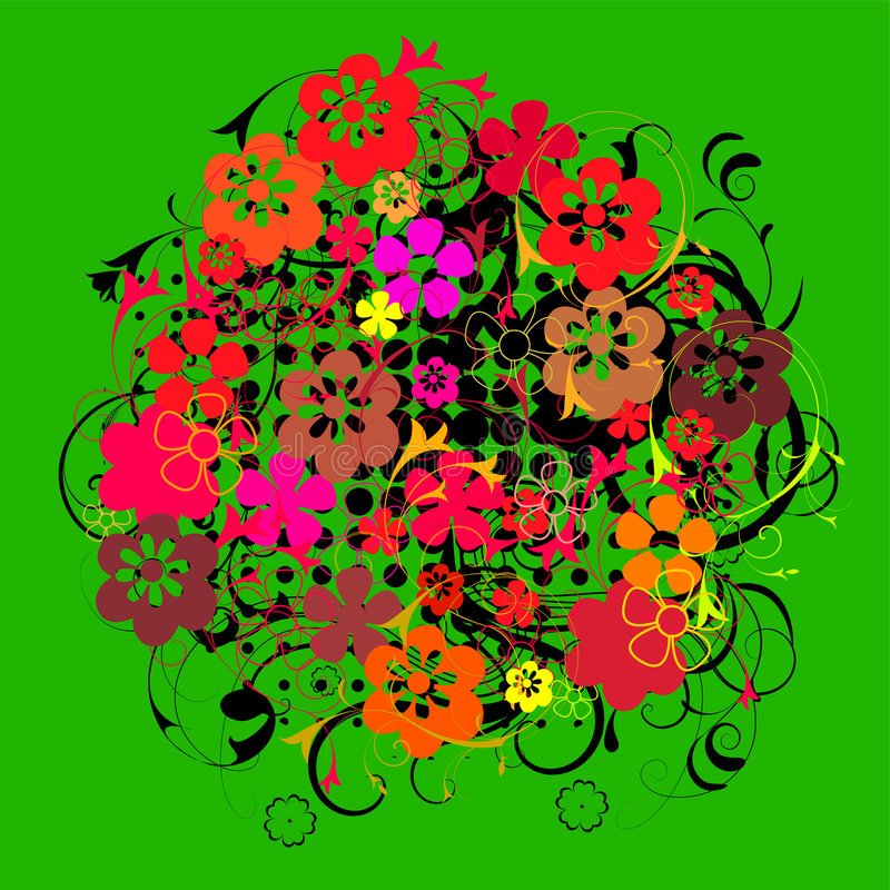 Flower bow. Floral and grunge design elements stock illustration
