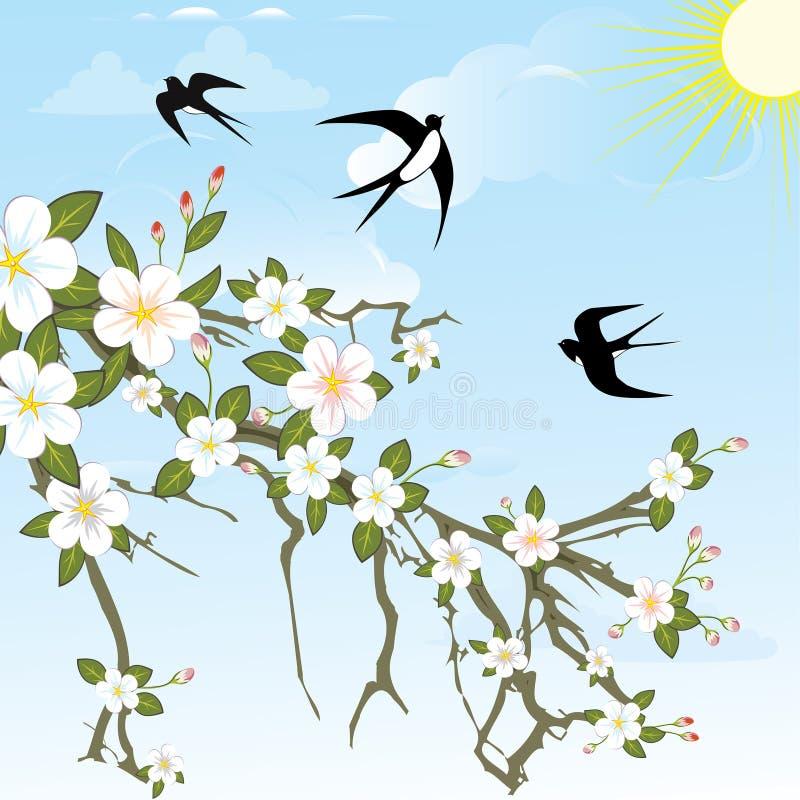 Flower branch with birds. vector illustration