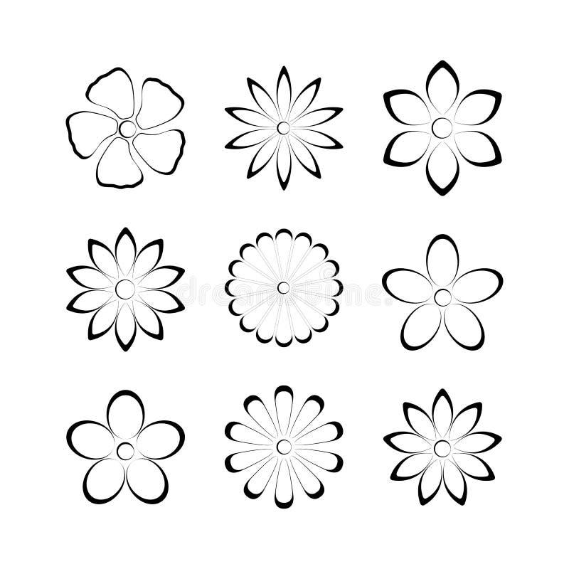 Flower bud set, vector illustration. Flower buds vector design elements isolated on white background, second set vector illustration
