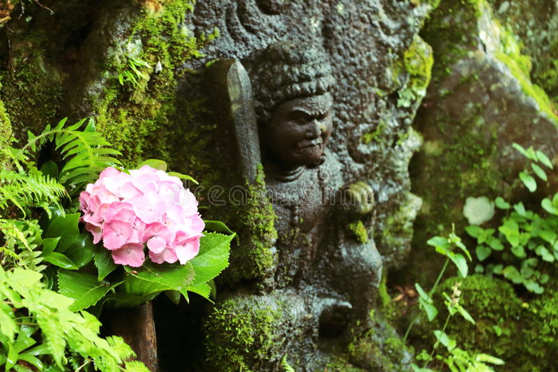 An interesting scene took place in an ancient temple in Japan, where flowers collided with a Buddha statue. royalty free stock photo