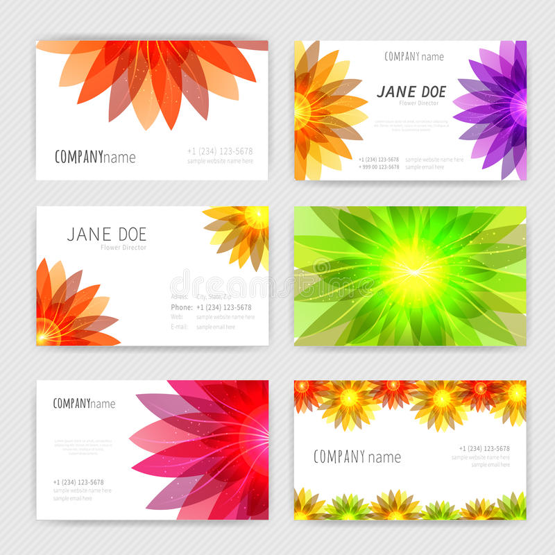 Flower business cards set vector illustration