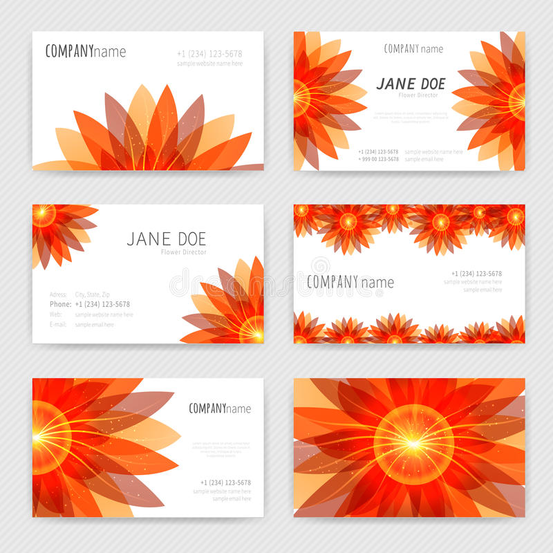 Flower business cards set stock vector. Illustration of company ...