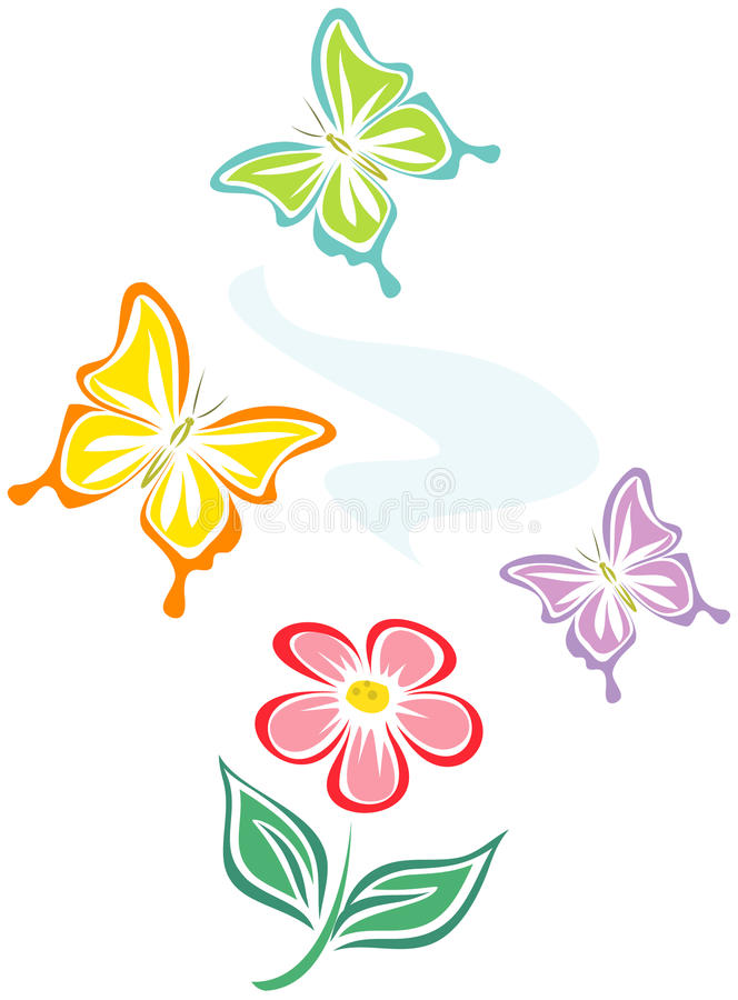 Flower and butterflies (Vector) royalty free illustration