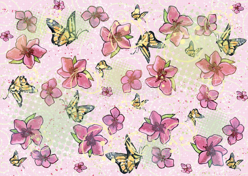 Download Flower & Butterfly Background Stock Illustration - Image: 16605399