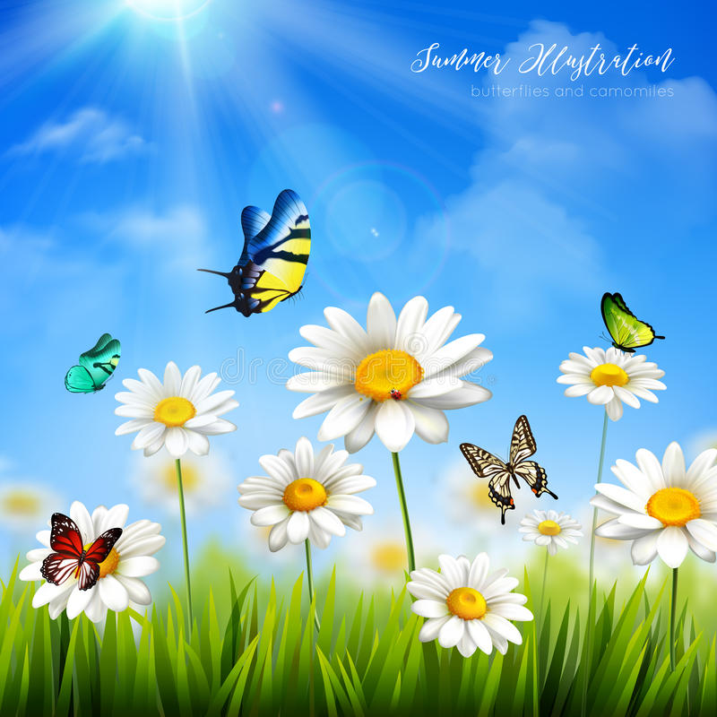Delicieux Download Flower With Butterfly Background Stock Illustration   Illustration  Of Flower, Design: 74921995