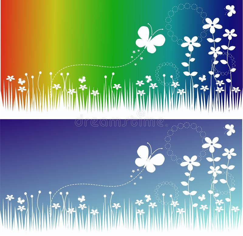 Flower and butterfly banners stock illustration