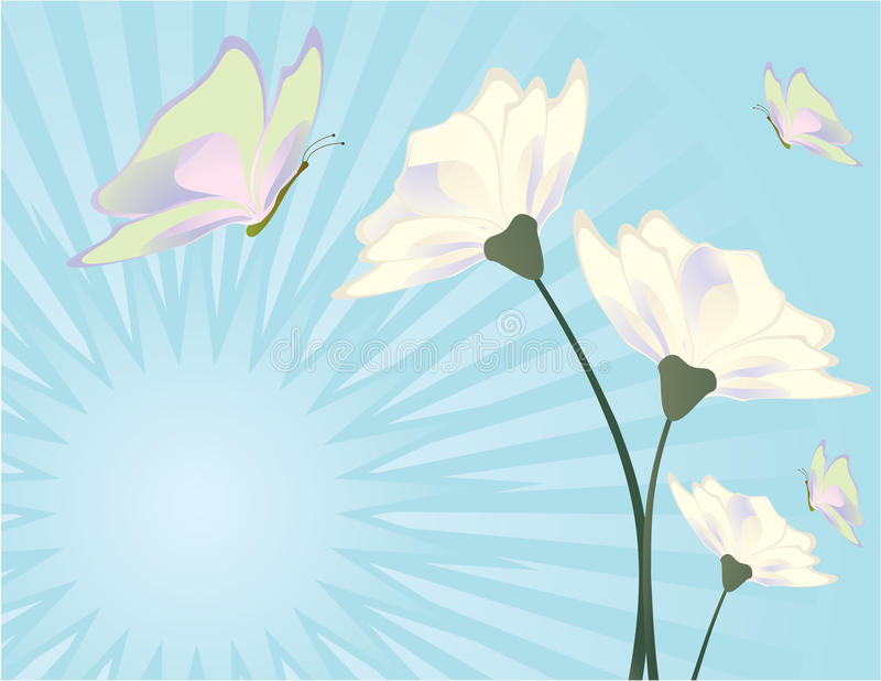 Flower and butterfly blue background 2 vector illustration