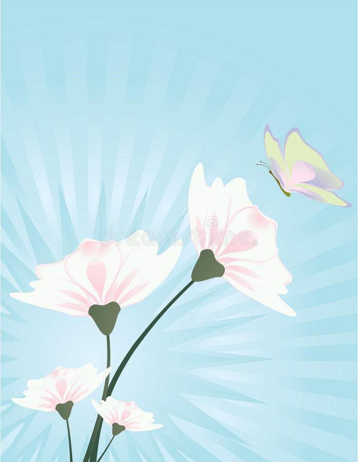 Flower and butterfly blue background 3 stock illustration