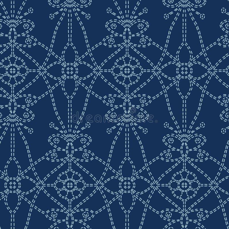 Flower butterfly motif sashiko style. Japanese needlework seamless vector pattern. Hand stitch indigo blue line textile royalty free illustration