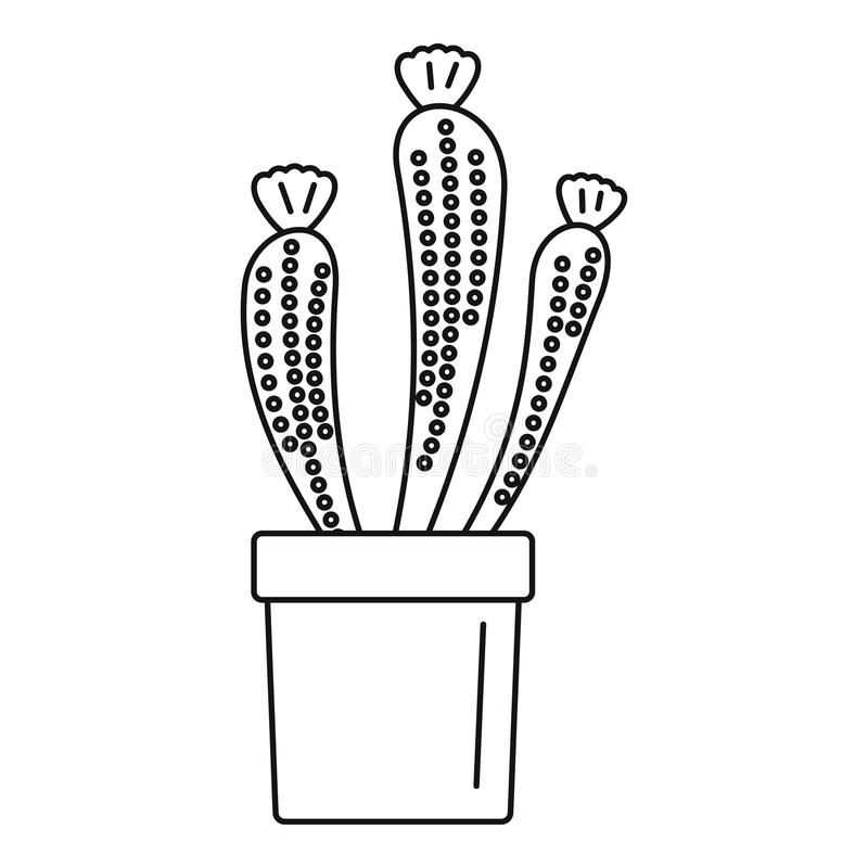 Flower Cactus Icon, Outline Style Stock Illustration ...  Cactus Flower Outline