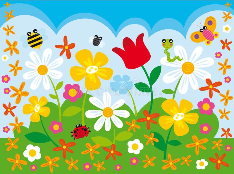 Flower camp. Illustration of flower field and animals
