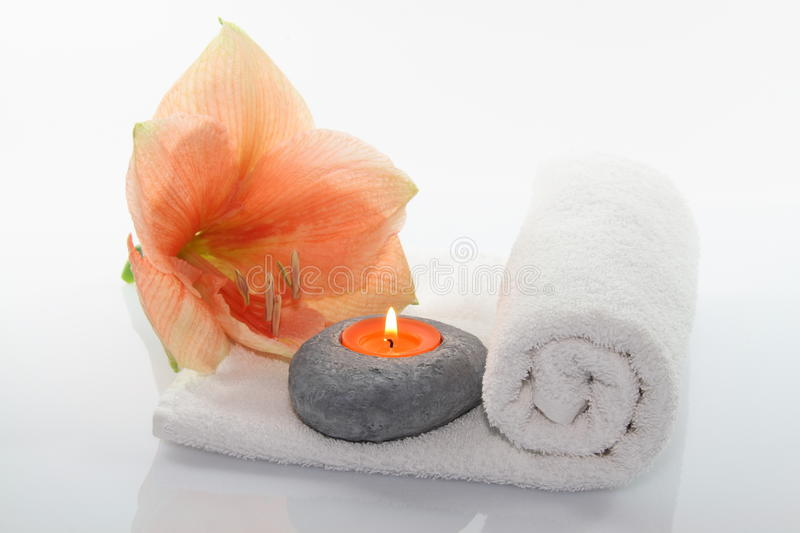 Flower with candle stock photography