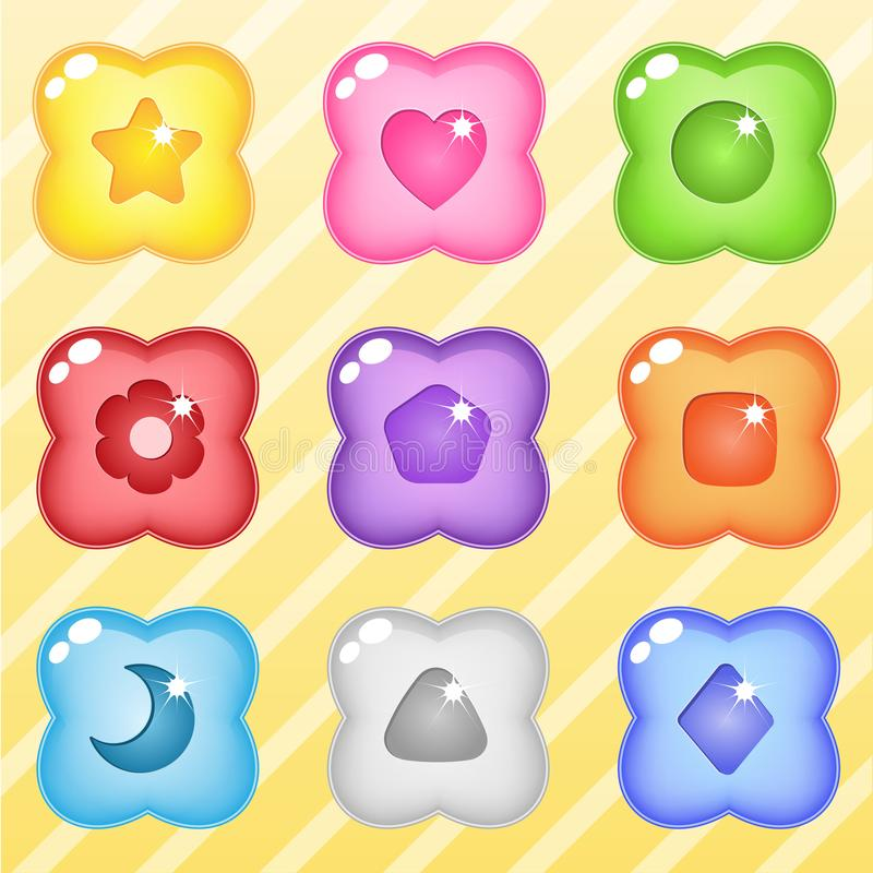 Flower candy block puzzle button glossy jelly. royalty free illustration